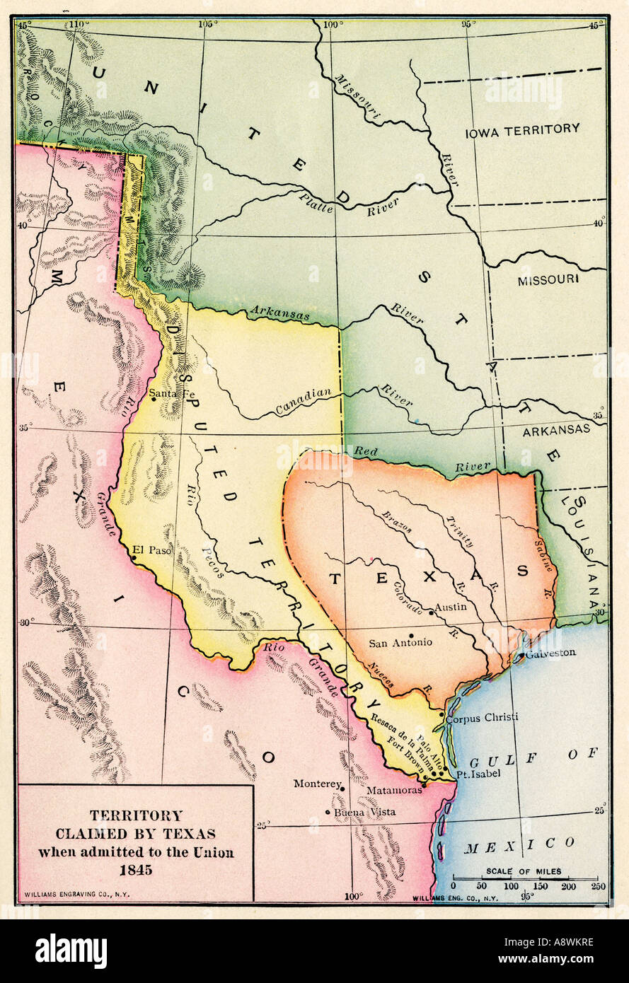 Map Of The Territory Claimed By The Republic Of Texas When - Map of us 1845