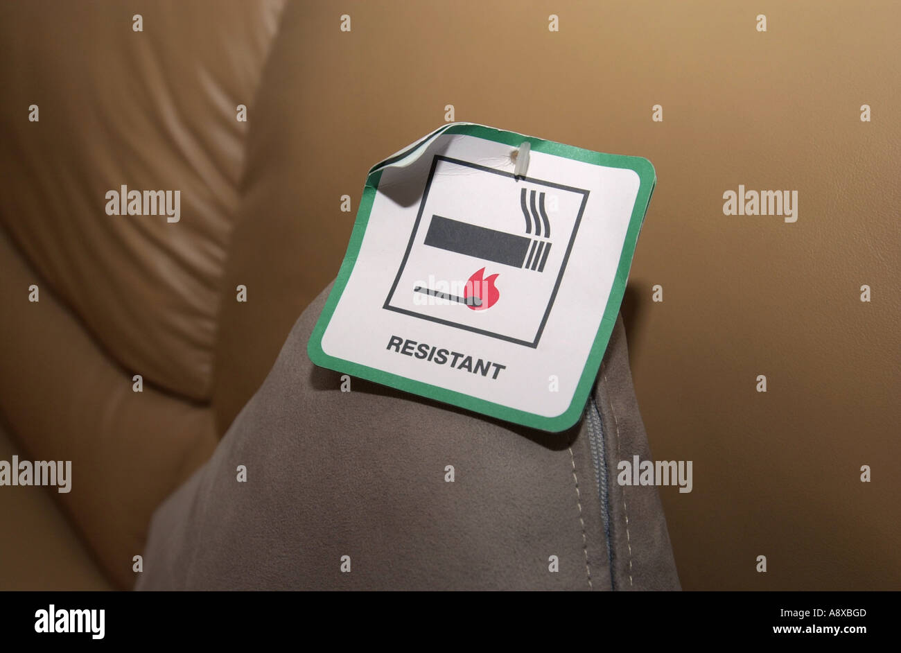 Furniture Shows The Fire Resistant Label Uk Stock Photo