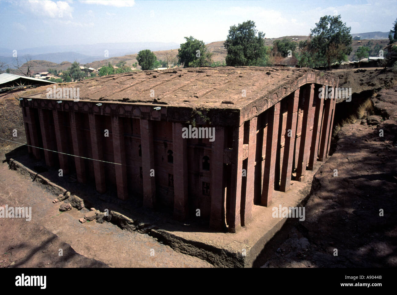 Medhane alem church carved from bedrock lalibela ethiopian