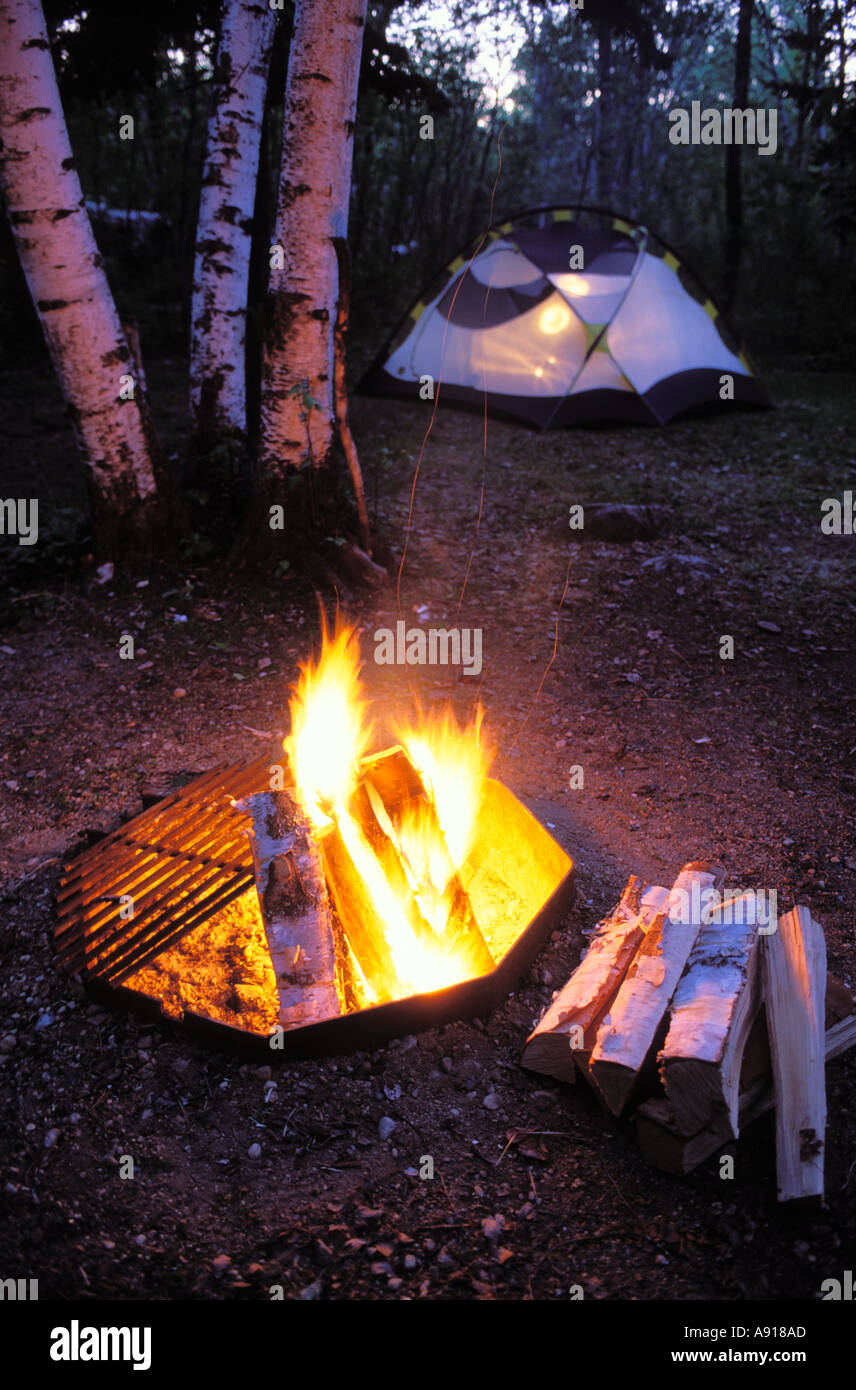 Camping In The Woods With A Fire Camp And Tent At Zippel Bay State