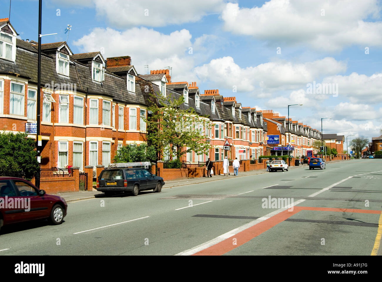 houses on cheetham hill road manchester uk stock photo. Black Bedroom Furniture Sets. Home Design Ideas