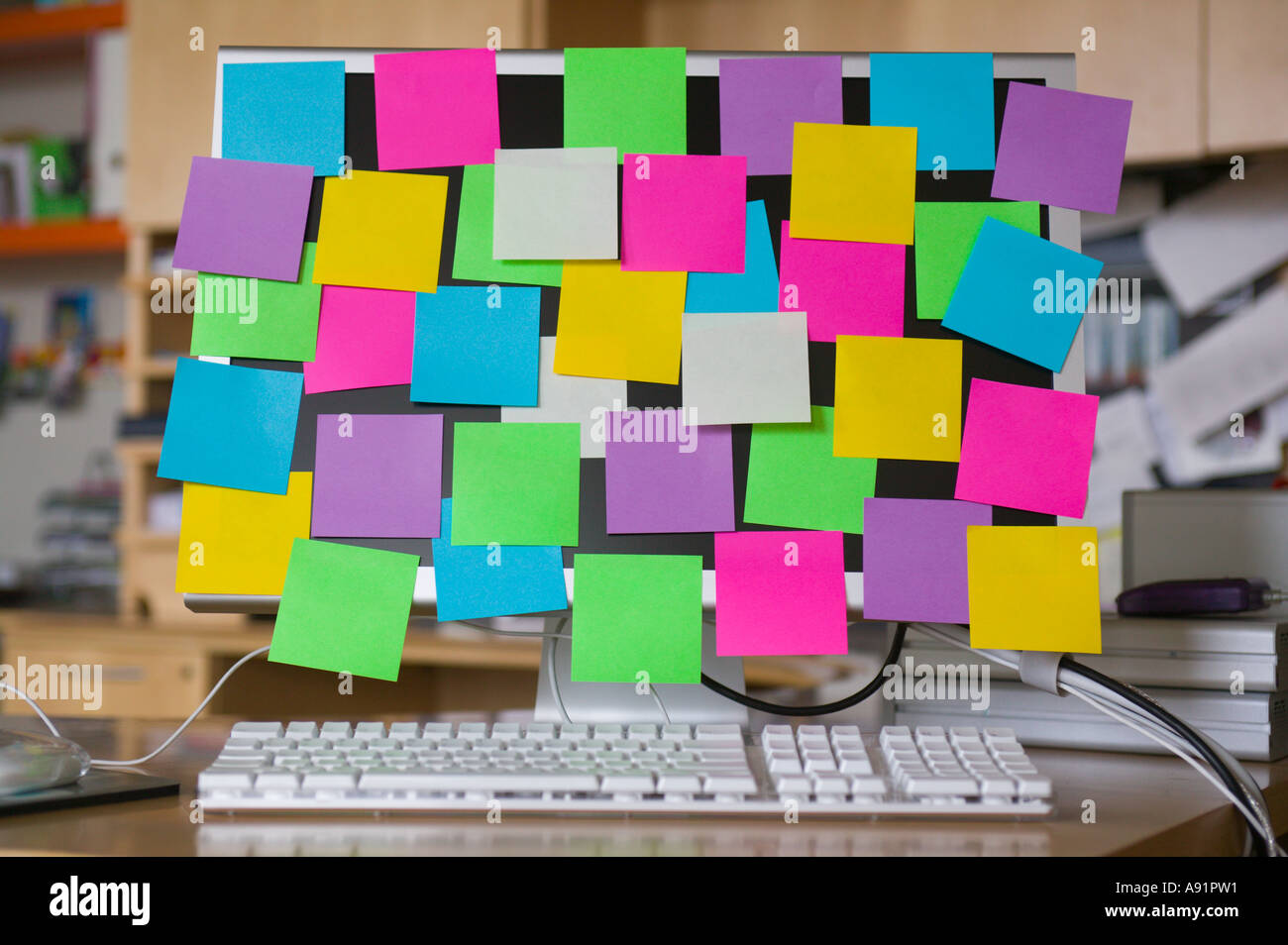 post it notes on computer monitor stock photo royalty free image 6984208 alamy. Black Bedroom Furniture Sets. Home Design Ideas