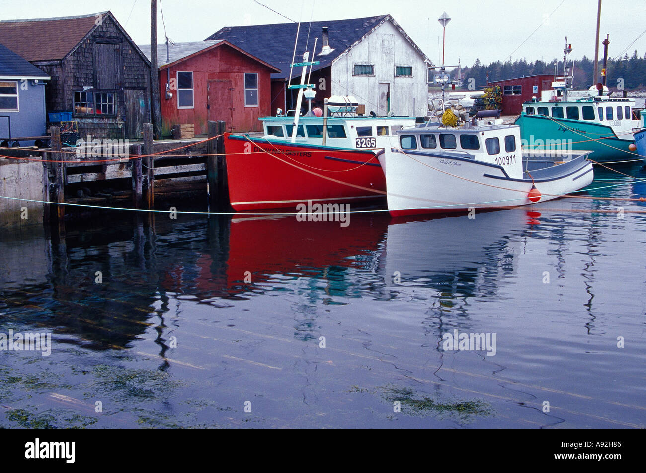 N.A. Canada, Nova Scotia, Hunts Point. Lobster boats at dock in Stock Photo: 3991941 - Alamy