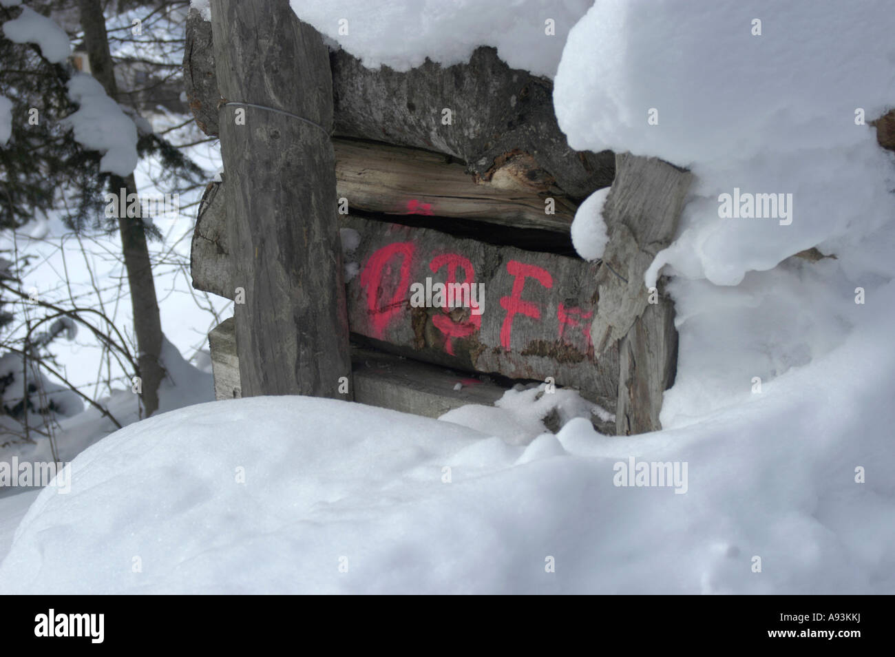 Snow covered wood pile of the austrian federal forest mit letters snow covered wood pile of the austrian federal forest mit letters bf madrichimfo Images
