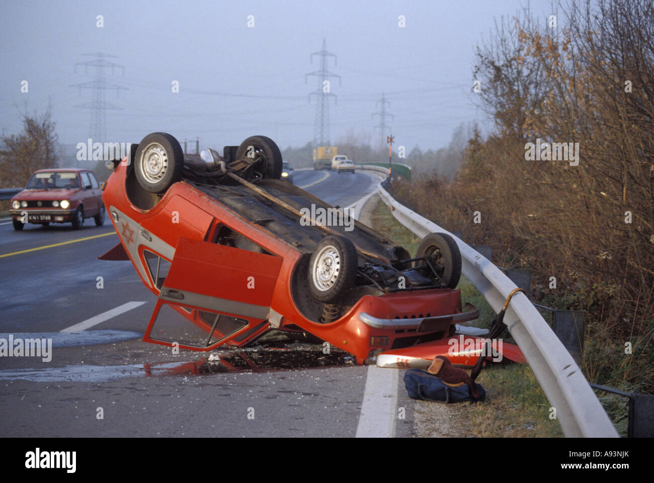 Car accident car is upside down on the road stock image