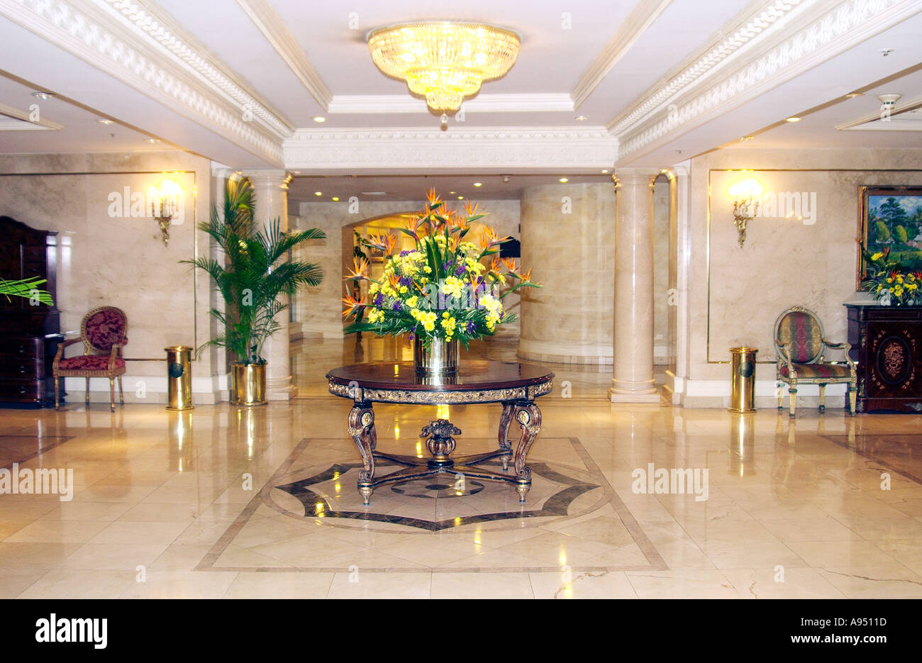 The Camino Real Resort Hotel interior lobby decor with table and  centerpiece in Guatemala City, Guatemala