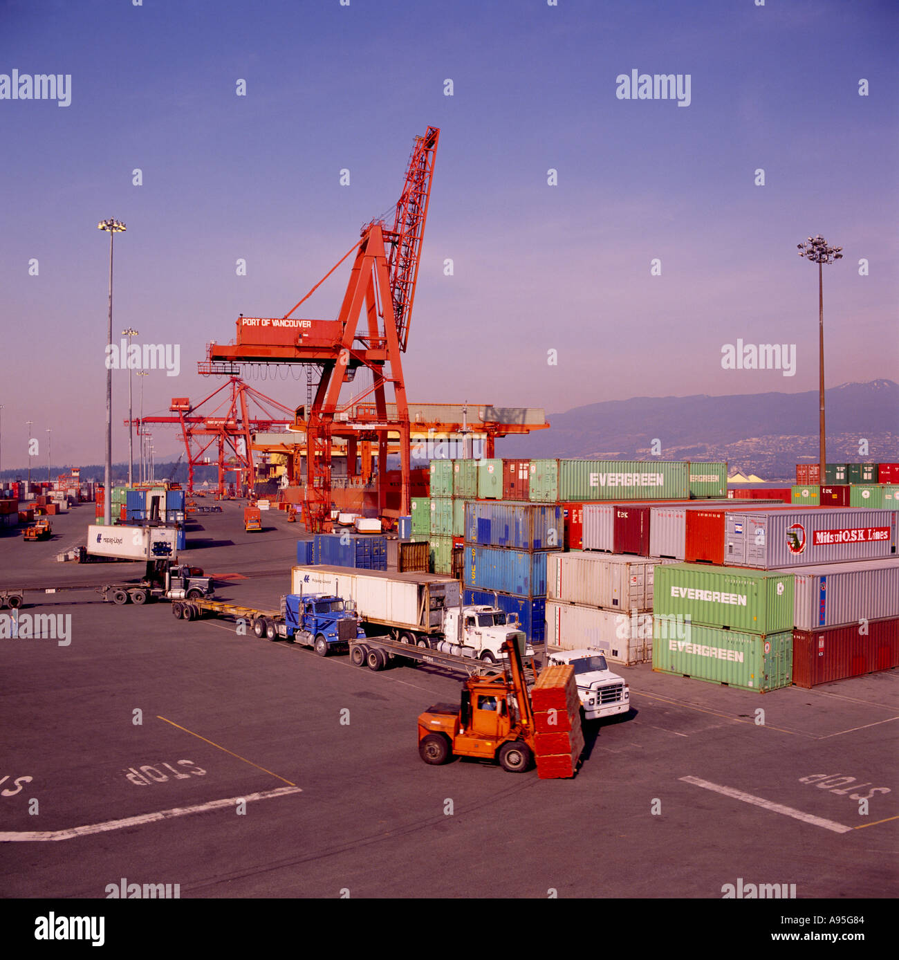 Vancouver Harbour: Container Terminal At The Vancouver Harbour Waterfront In