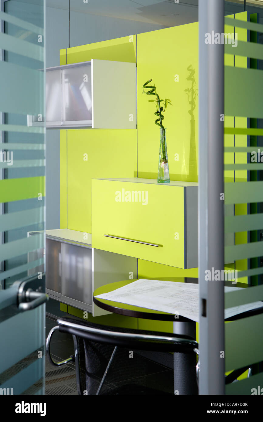 Lime Green Wall Detail And Glass Modern Office Interior