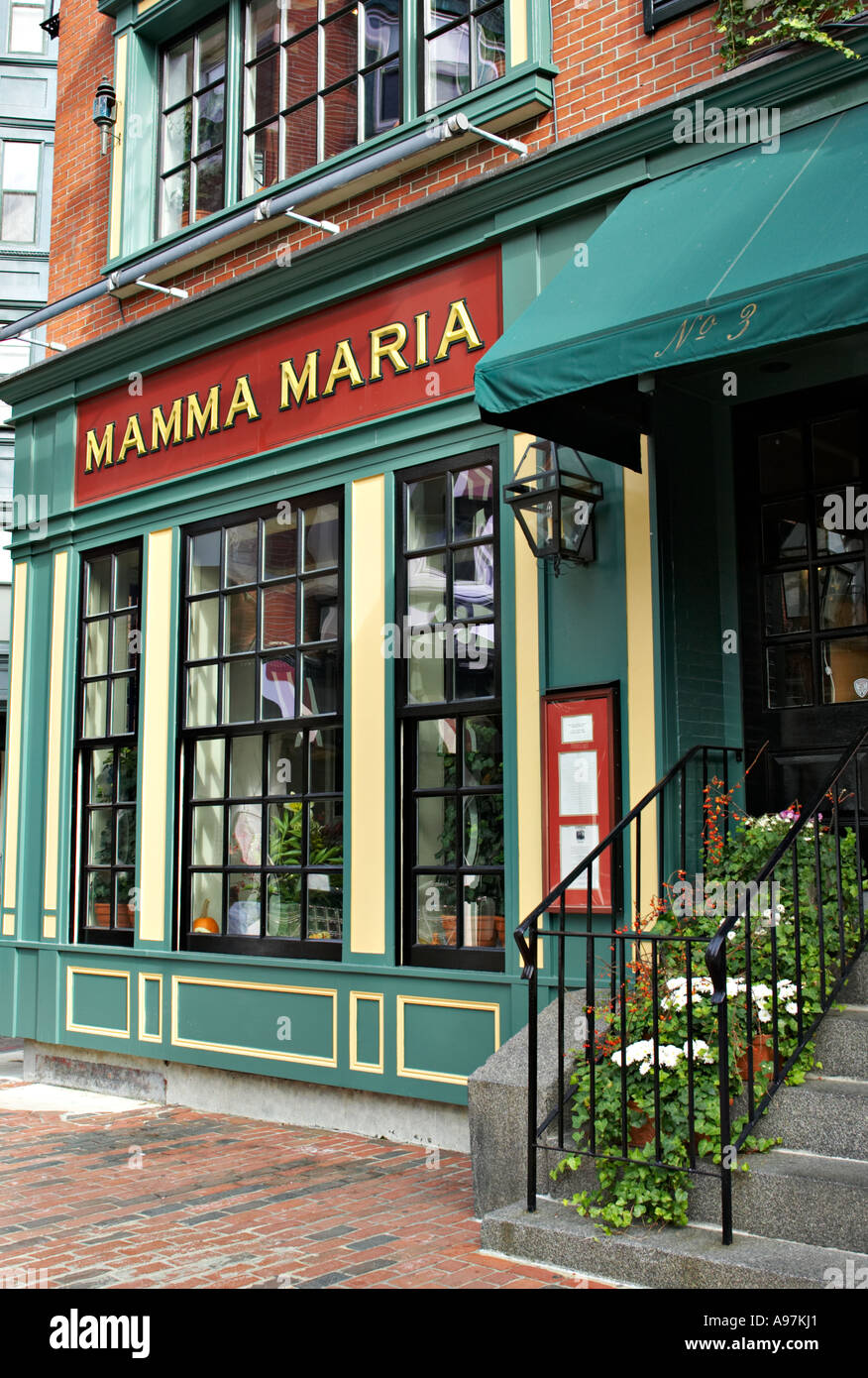 Italian restaurant exterior - Massachusetts Boston Exterior Of Mamma Maria Italian Restaurant In North End Neighborhood