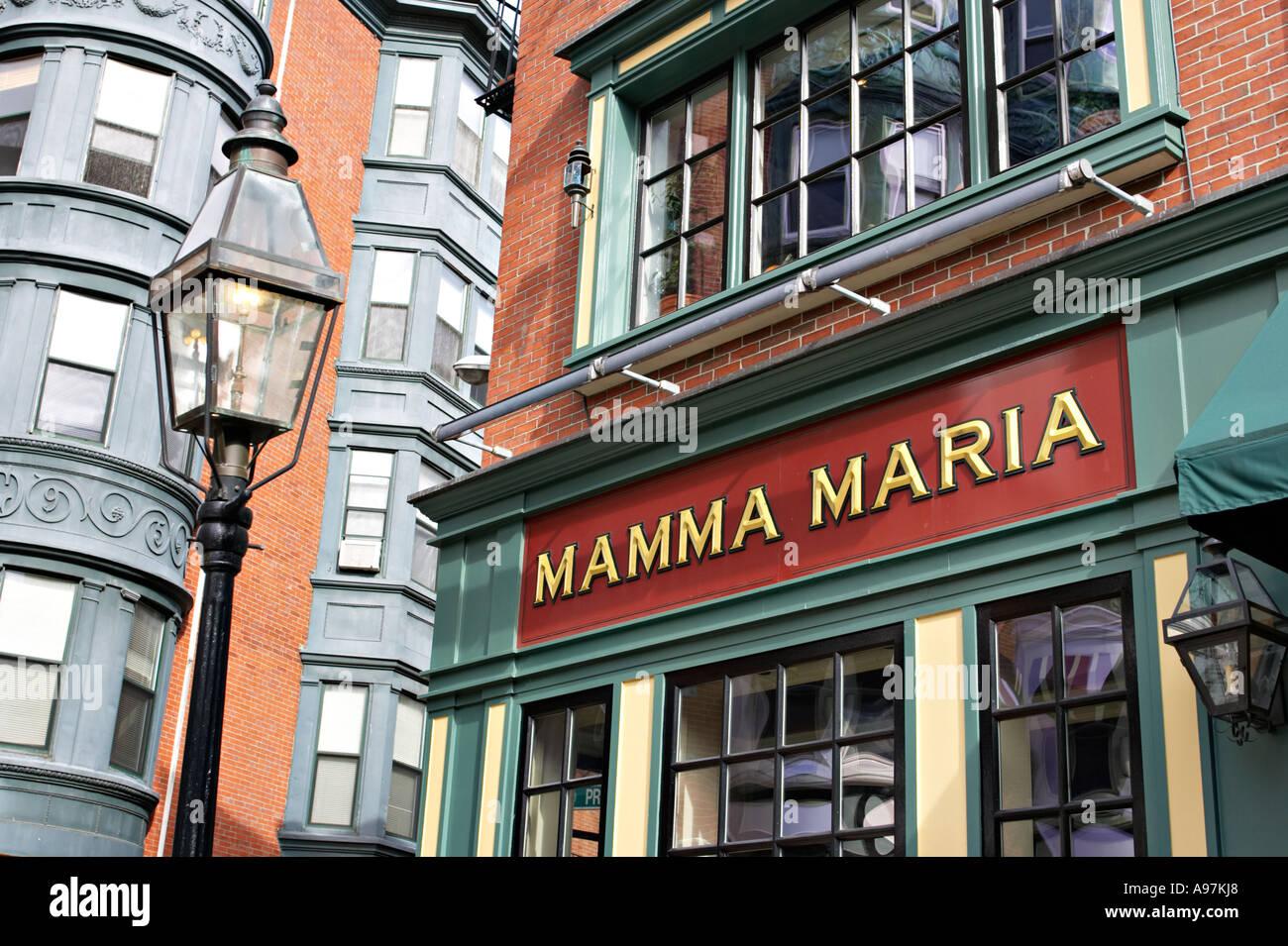 Italian restaurant exterior - Massachusetts Boston Exterior Of Mamma Maria Italian Restaurant In North End Neighborhood Street Lamp Stock
