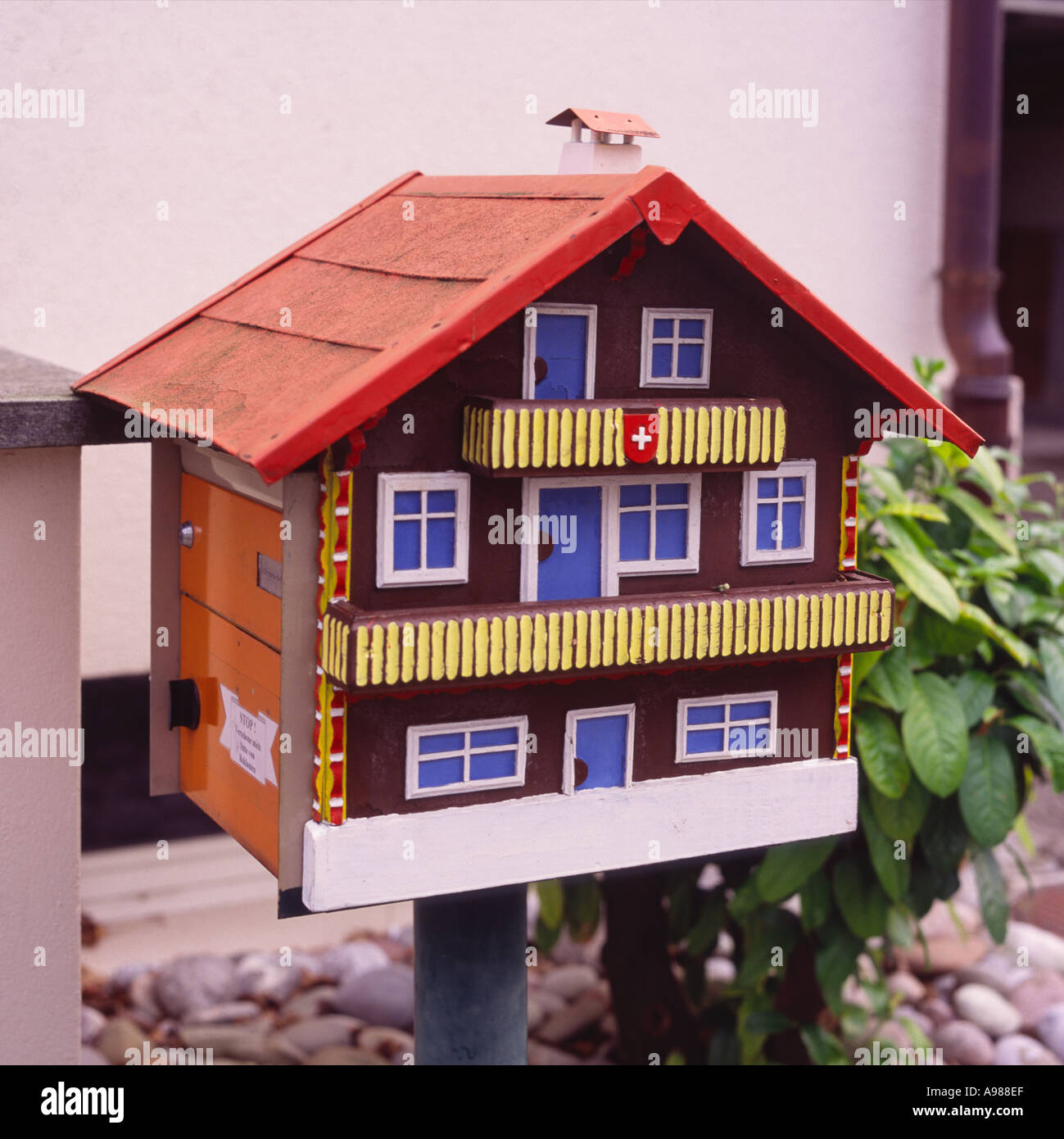 home mailbox in the form of a little traditional miniature swiss home mailbox in the form of a little traditional miniature swiss chalet in oberdorf basel canton switzerland