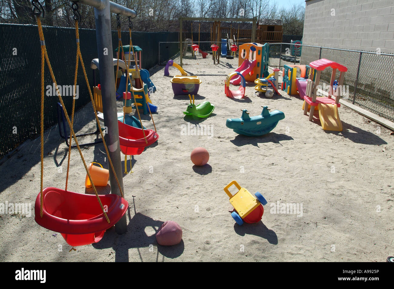 Toys For Day Care Centers : Childrens play area at a day care center with toys stock