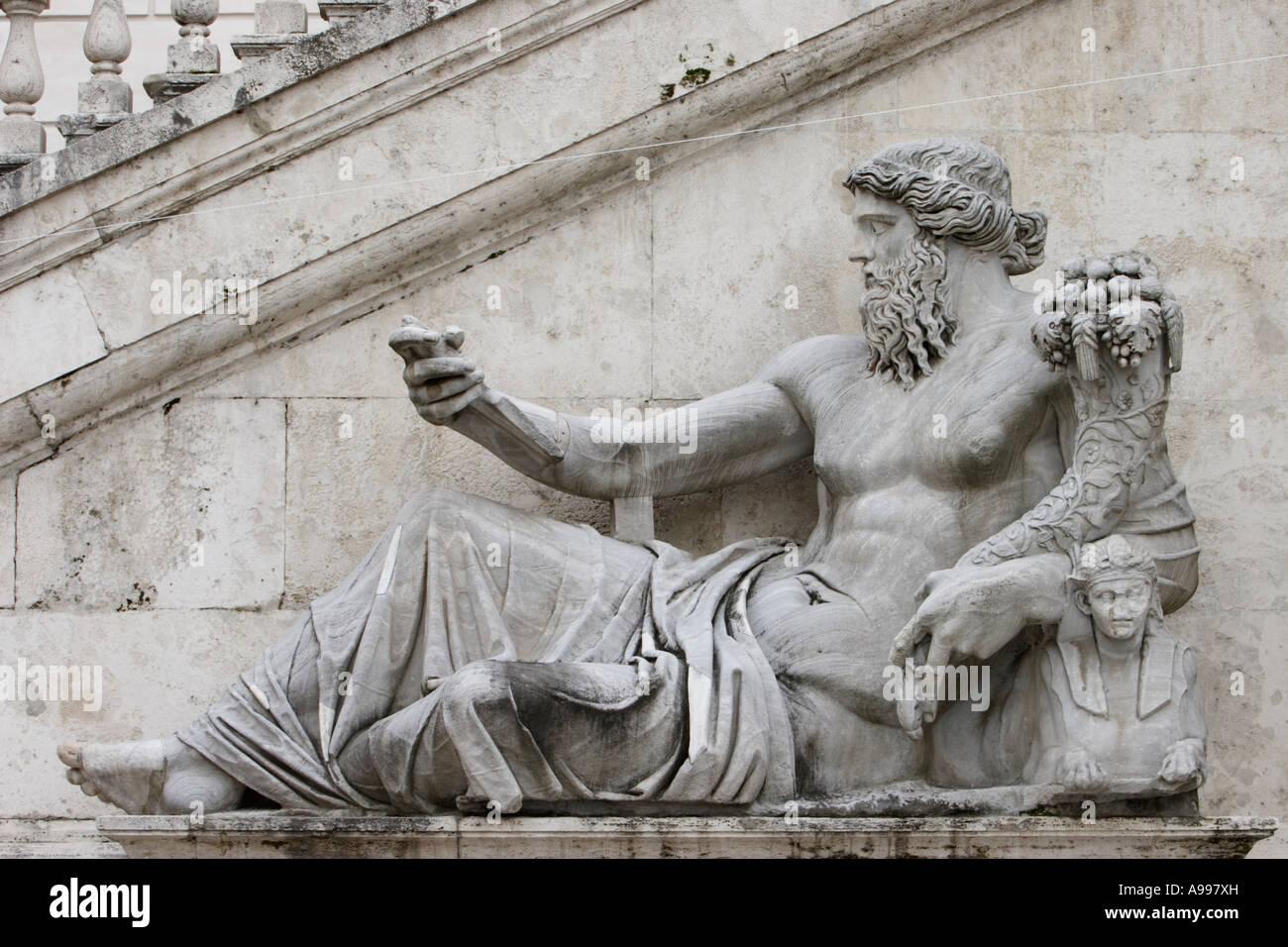 statue of greek god zeus on piazza del campidoglio in rome italy
