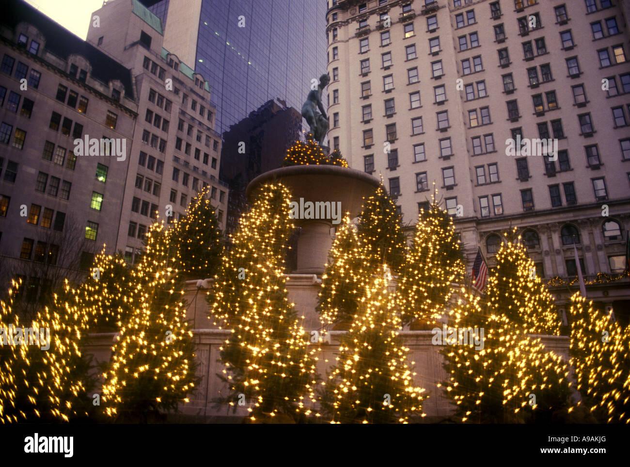 CHRISTMAS TREES LIGHTS PULITZER FOUNTAIN FIFTH AVENUE MANHATTAN ...