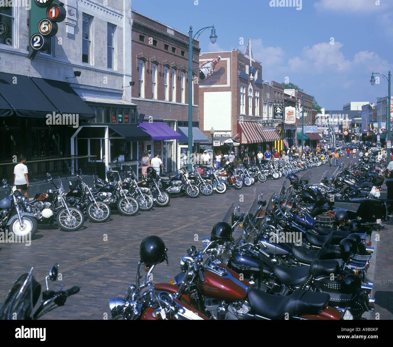 harley davidson motorbikes beale street memphis tennessee usa