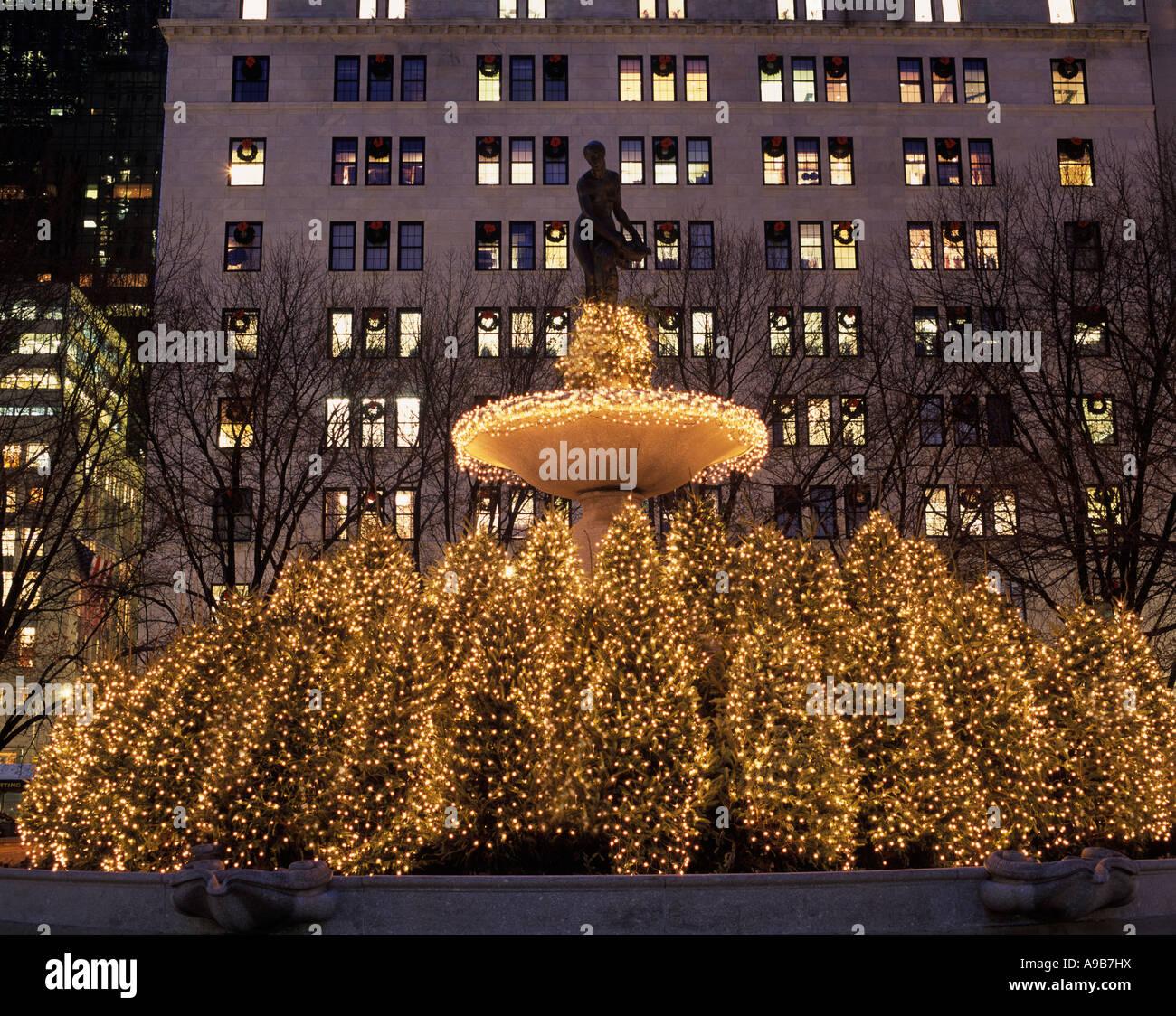 CHRISTMAS TREES PULITZER FOUNTAIN FIFTH AVENUE MANHATTAN NEW YORK ...