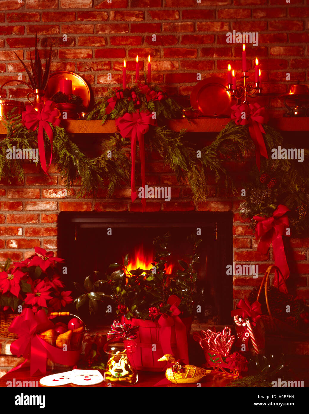 christmas fireplace still life with blazing hearth fruit baskets