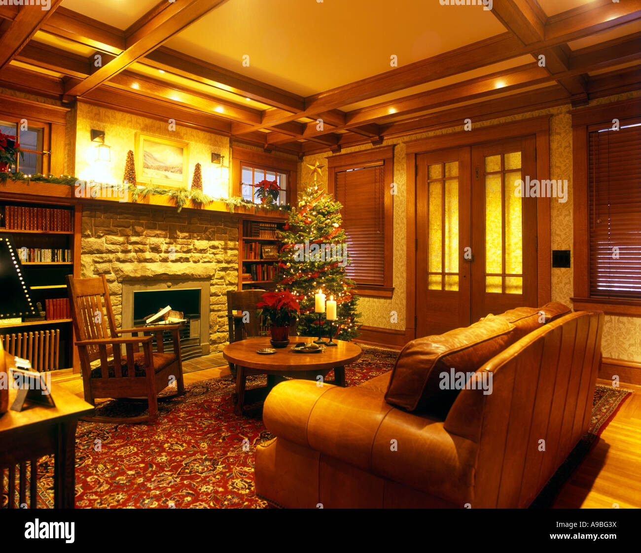 craftsman home living room interior with christmas tree and craftsman home living room interior with christmas tree and presents