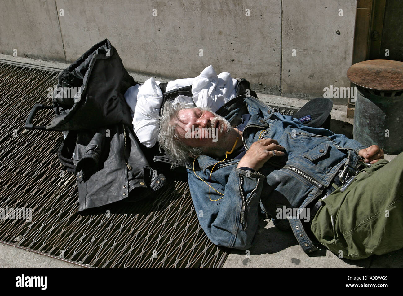 Homeless Alcoholic Sleeping Outdoors Stock Photo, Picture And ...