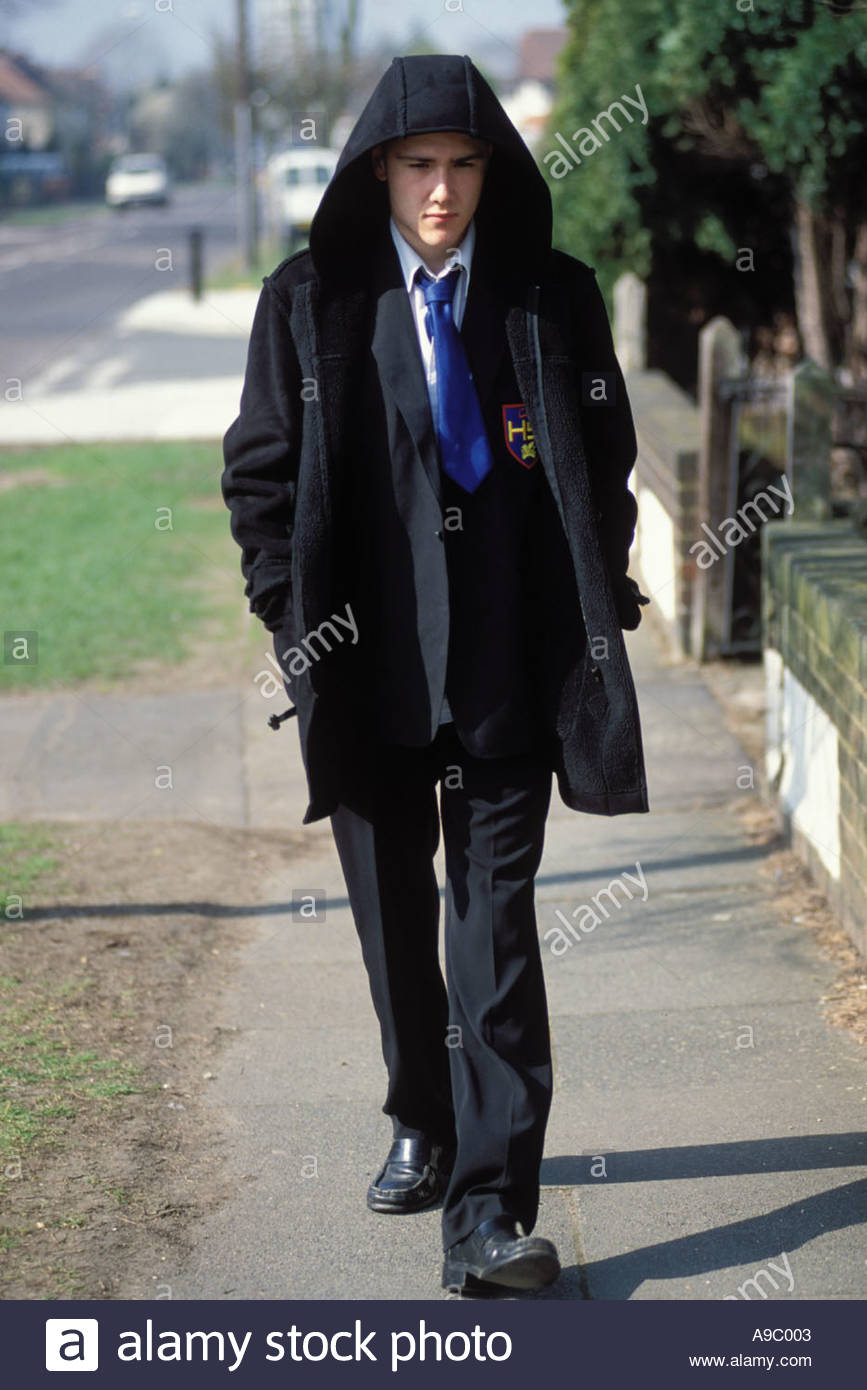 15 Year Old Schoolboy Walking To From School Wearing Duffle Coat ...