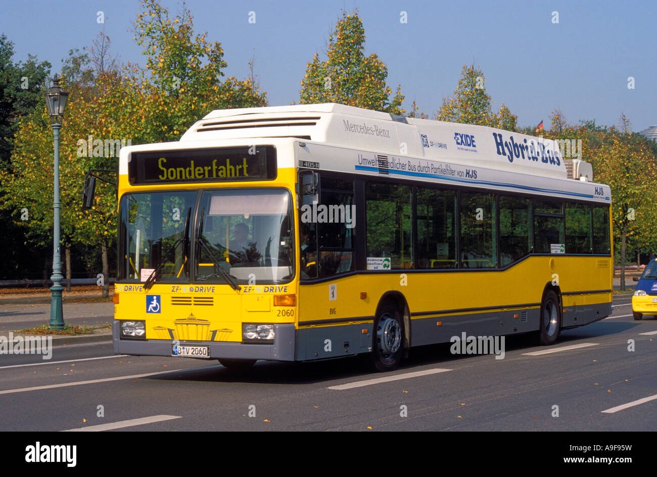 germany berlin a hybrid bus belonging to the city s transportation stock photo royalty free. Black Bedroom Furniture Sets. Home Design Ideas