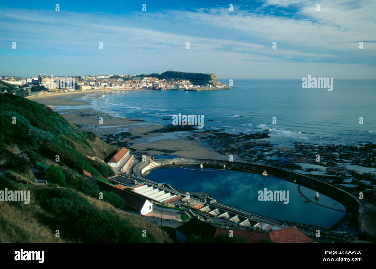 View over swimming pool and south bay beach scarborough - Swimming pools in south yorkshire ...