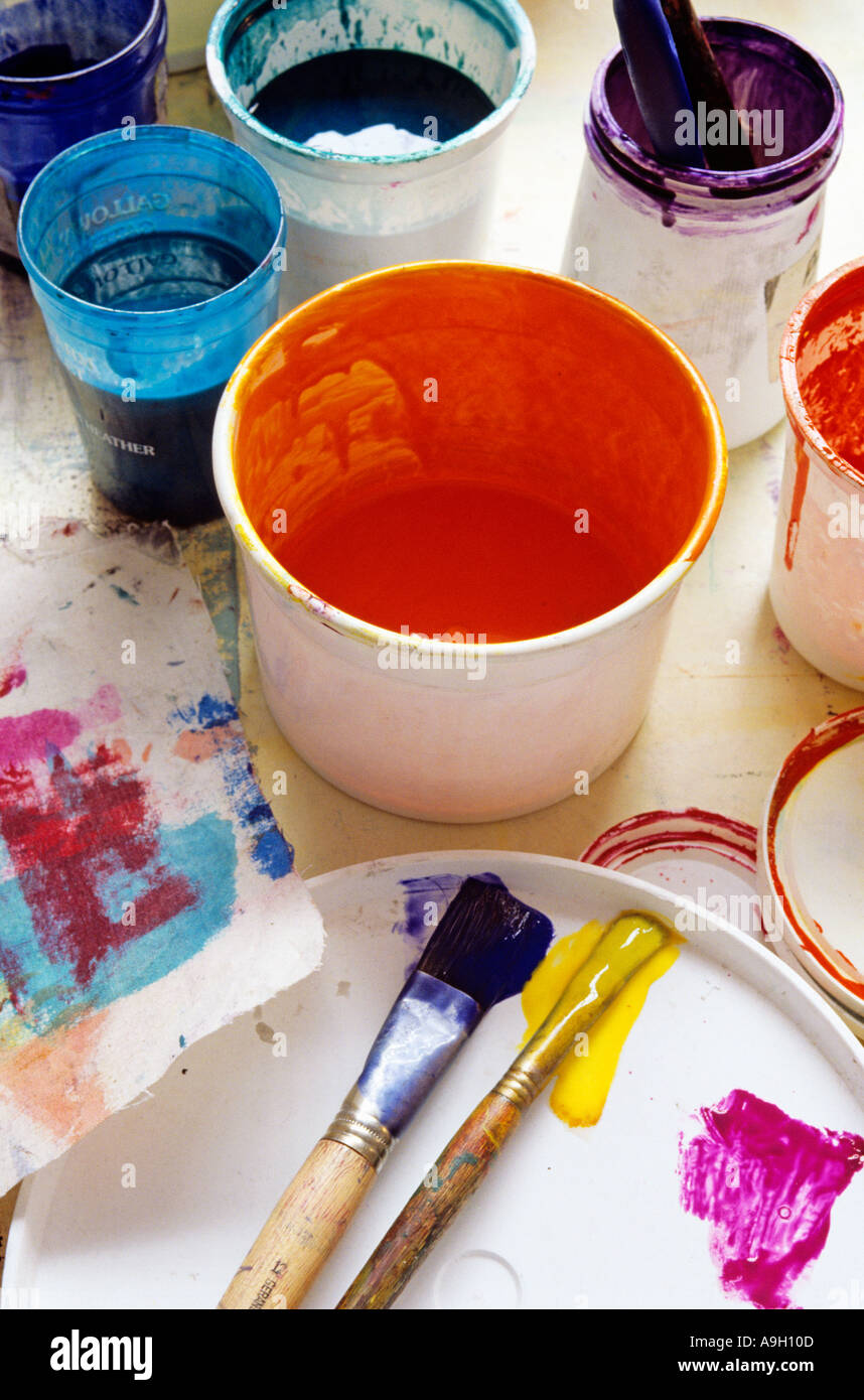 Tubs of paint and brushes Silk screen printing Stock Photo ...