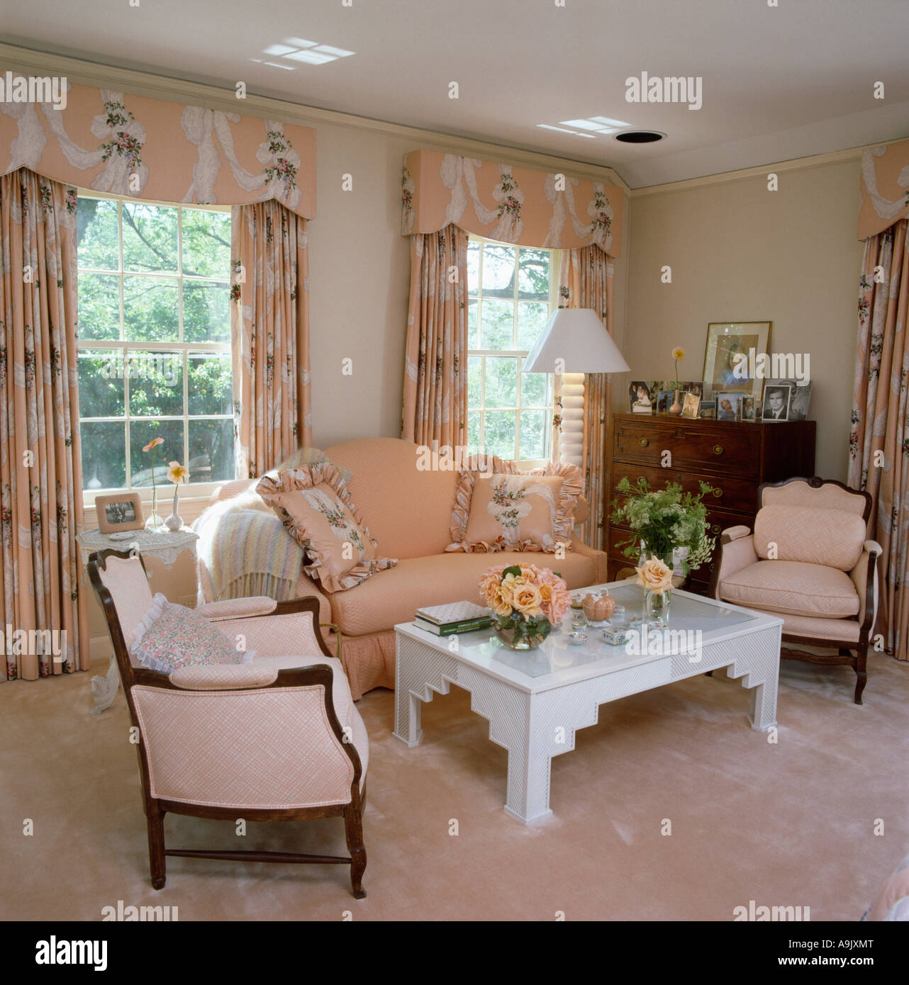 Peach Sofa And Patterned Curtains With Pelmets In Peach Eighties Stock Photo Royalty Free Image