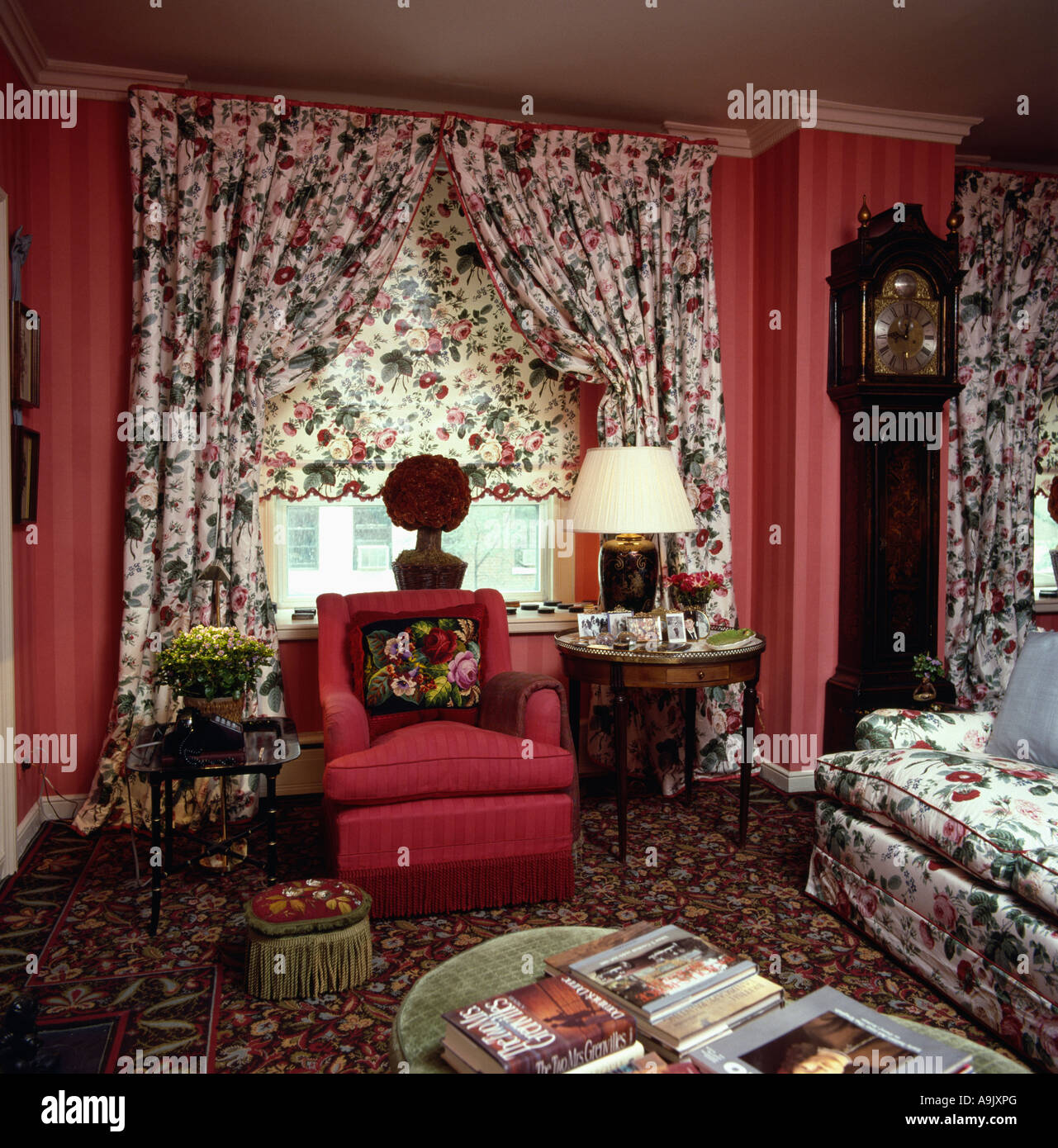 Red patterned curtains living room - Floral Patterned Curtains And Matching Blind In Red Eighties Livingroom With Red Armchair And Longcase Clock