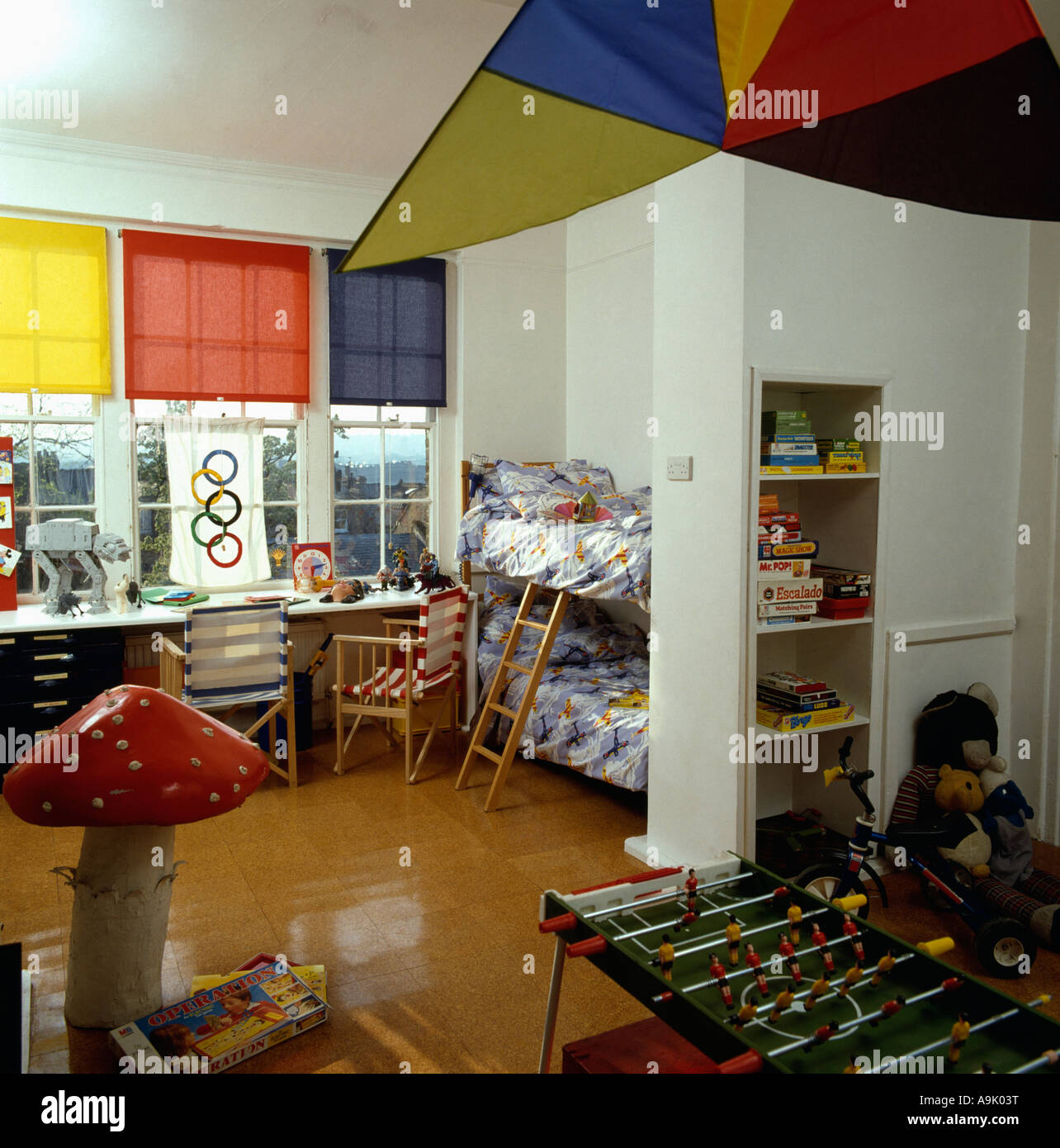 colourful blinds in eighties children's playroom with cork floor
