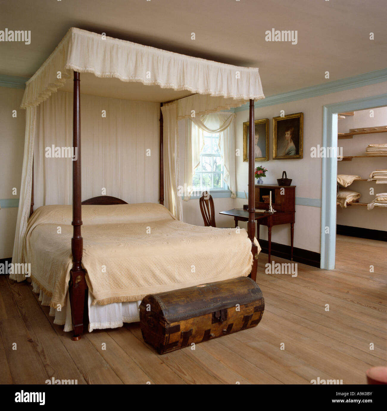Antique Four Poster Bed With Cream Drapes And Linen In Country Stock Photo Royalty Free Image