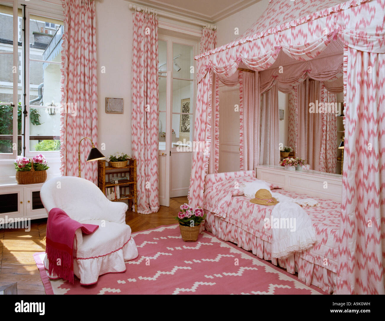 Pink and white canopy over bed in eighties bedroom with pink and white rug & Pink and white canopy over bed in eighties bedroom with pink and ...