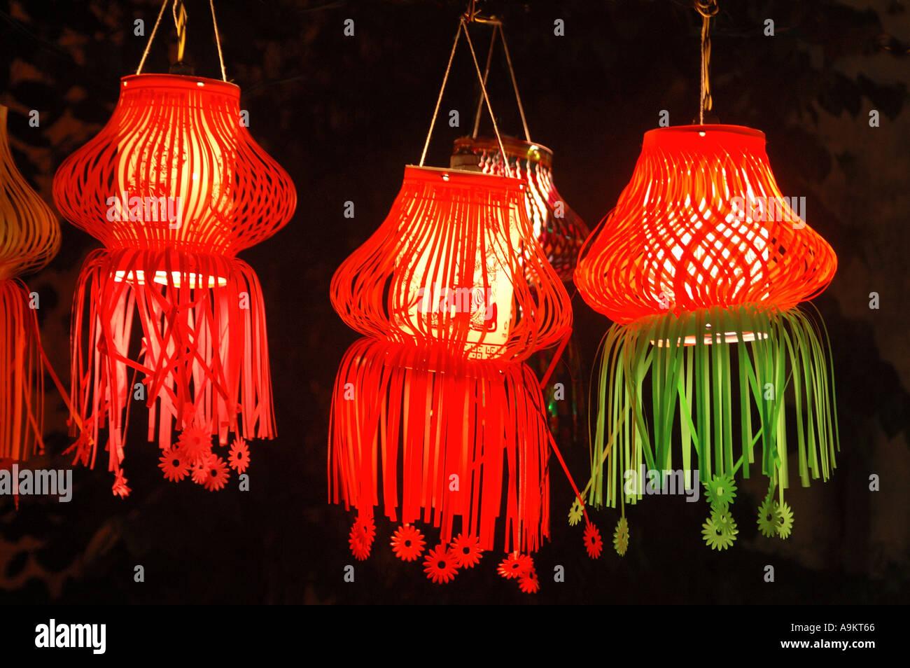 Diwali Indian Festival Of Lights Christmas Colourful Paper Lamps Red Lanterns Kandeel Three Pieces Hanging For Sale India Asia