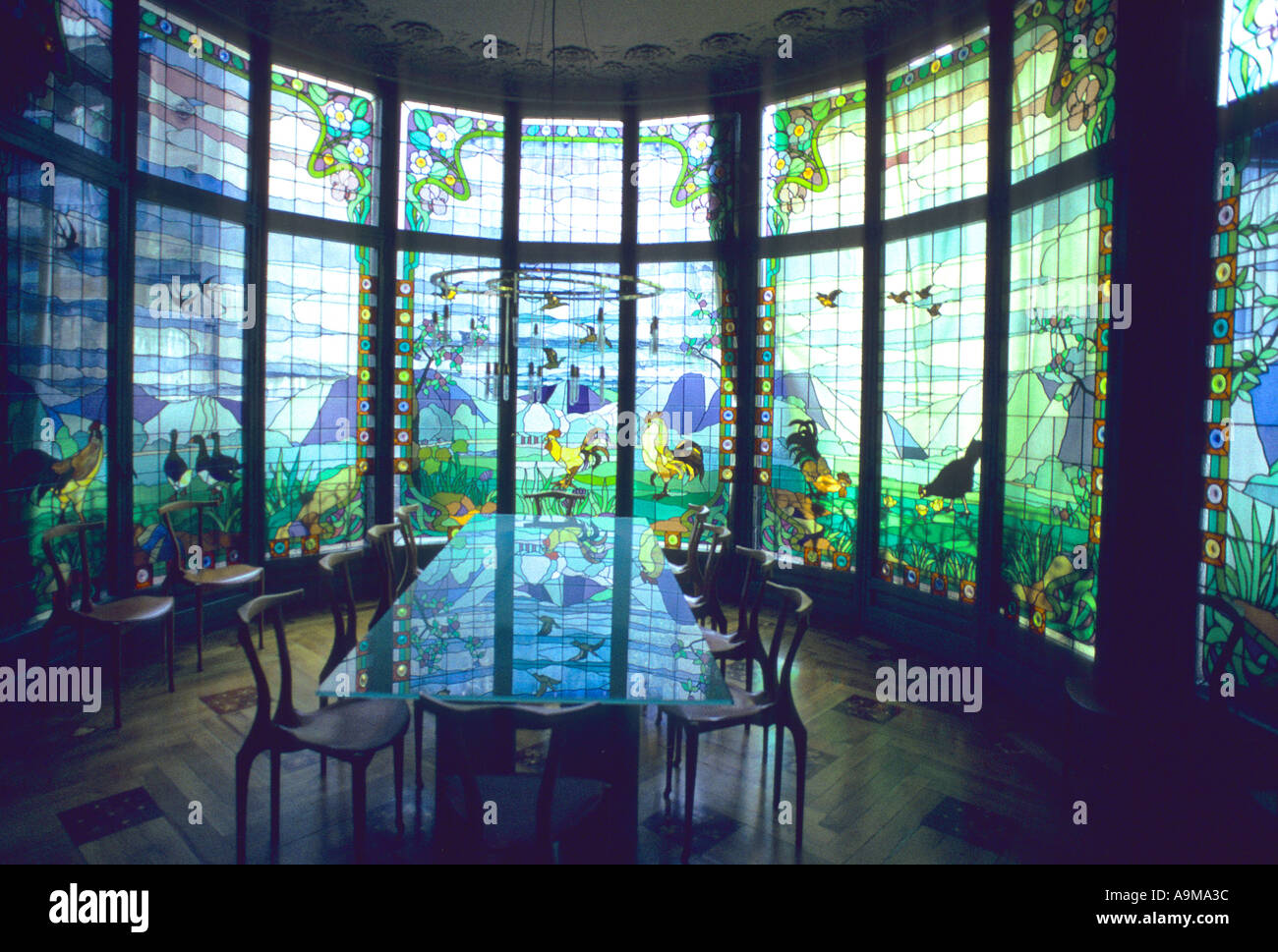 Colourful Art Nouveau Glass Window Wall Dining Room Casa Amatller By Th Architect P I Cadafalch Barcelona Catalonia Spain Europ