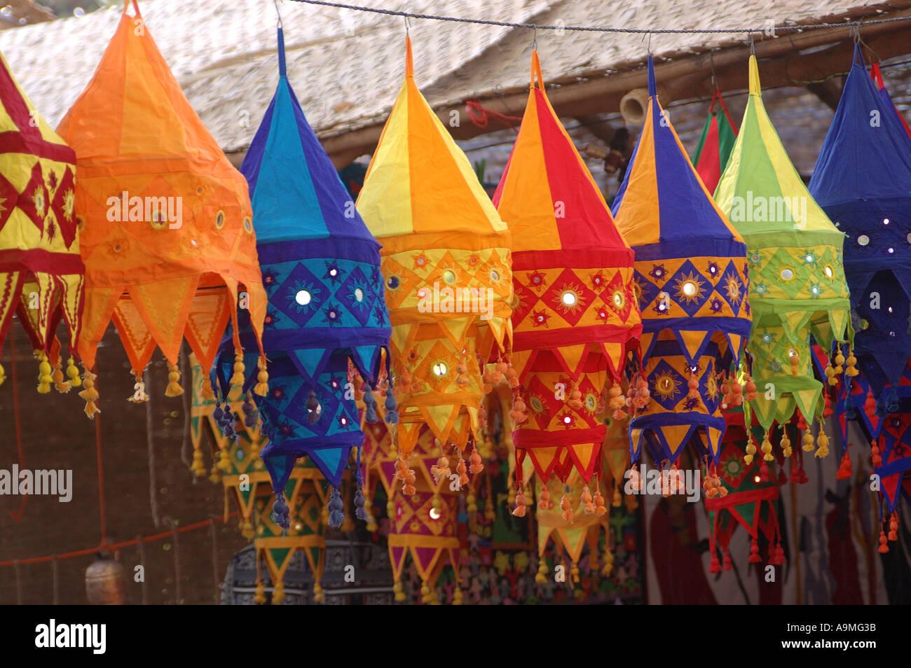ANG99427 Cloth Lamp Shades Colours Shapes Mirror work on Lamp ...