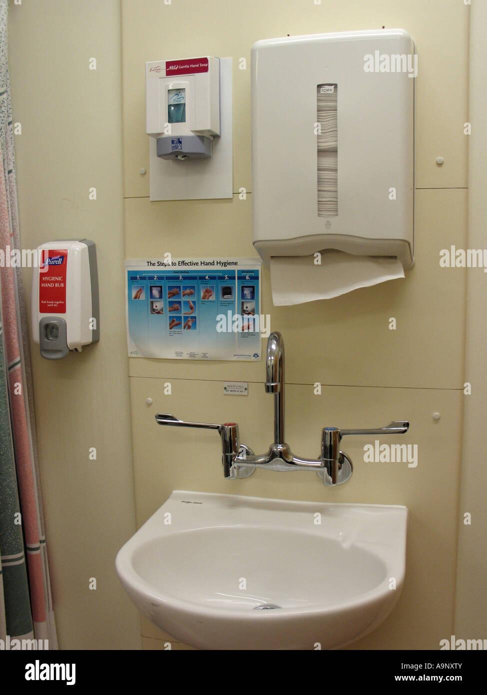 Hand Washing Station On Hospital Ward With Antiseptic Gel