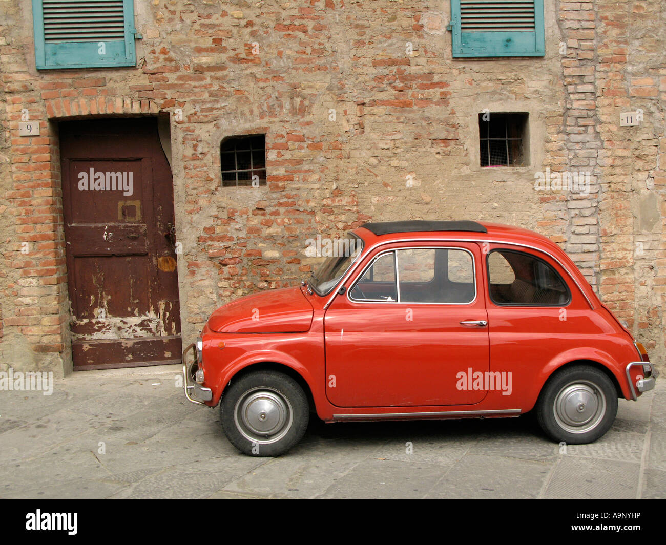 old car red fiat 500 parked on street in siena italy with old stock photo royalty free. Black Bedroom Furniture Sets. Home Design Ideas