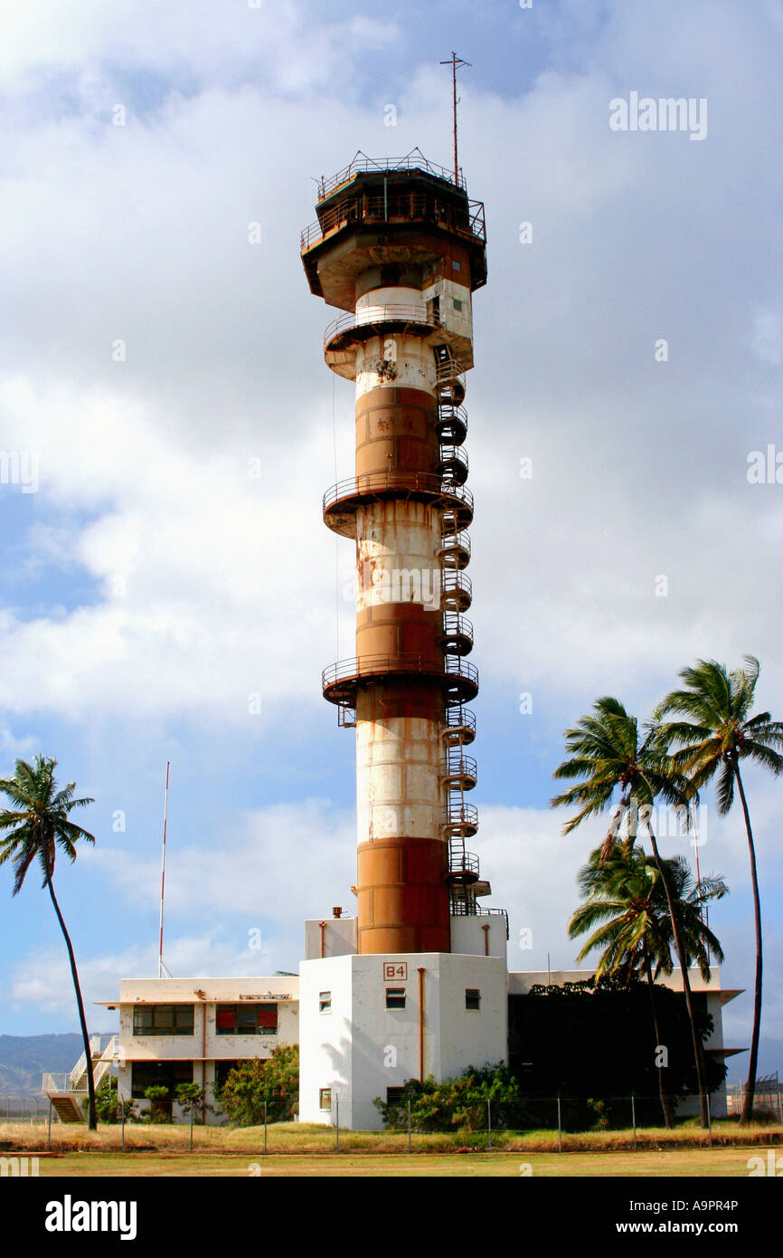 Air traffic control tower on ford island pearl harbor oahu hawaii stock image