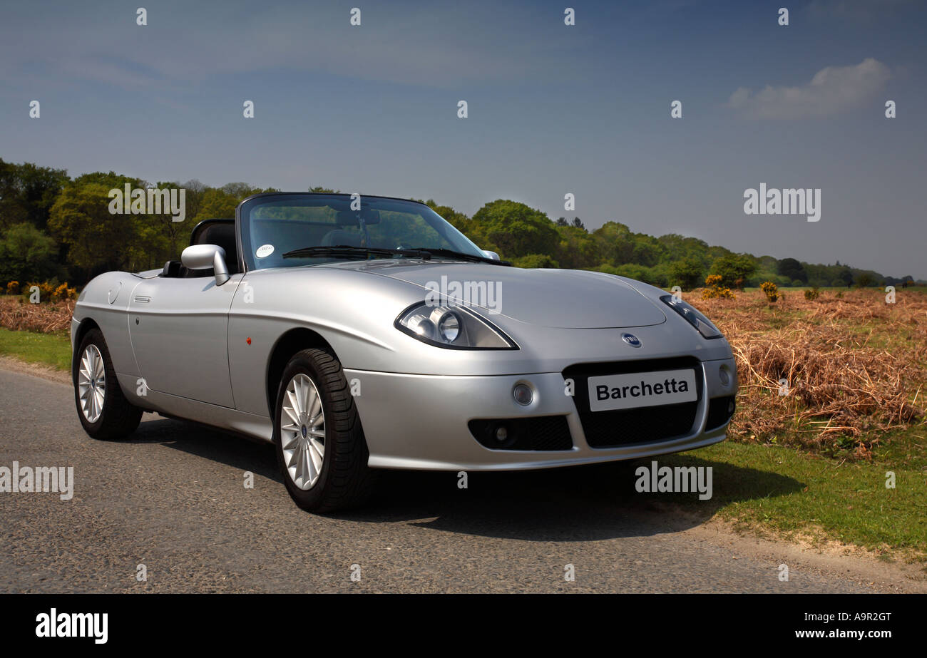 silver fiat barchetta sports car new forest hampshire england stock photo 12422567 alamy. Black Bedroom Furniture Sets. Home Design Ideas
