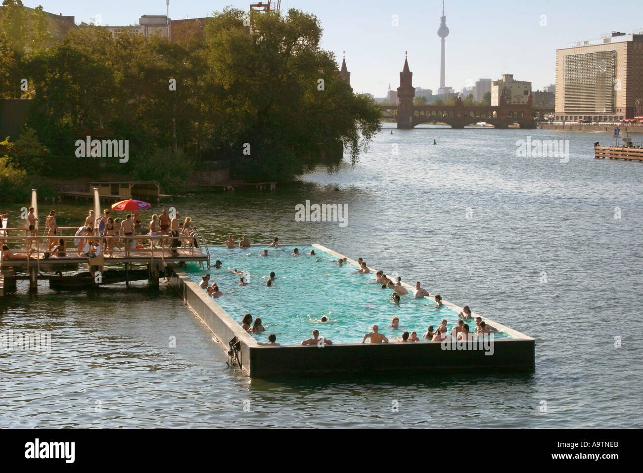 berlin river spree summer pool arena stock photo royalty free image 4060650 alamy. Black Bedroom Furniture Sets. Home Design Ideas