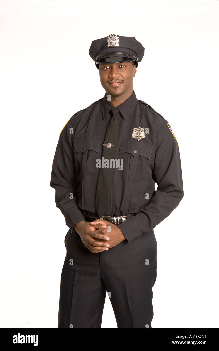 smiling young african american police officer in uniform