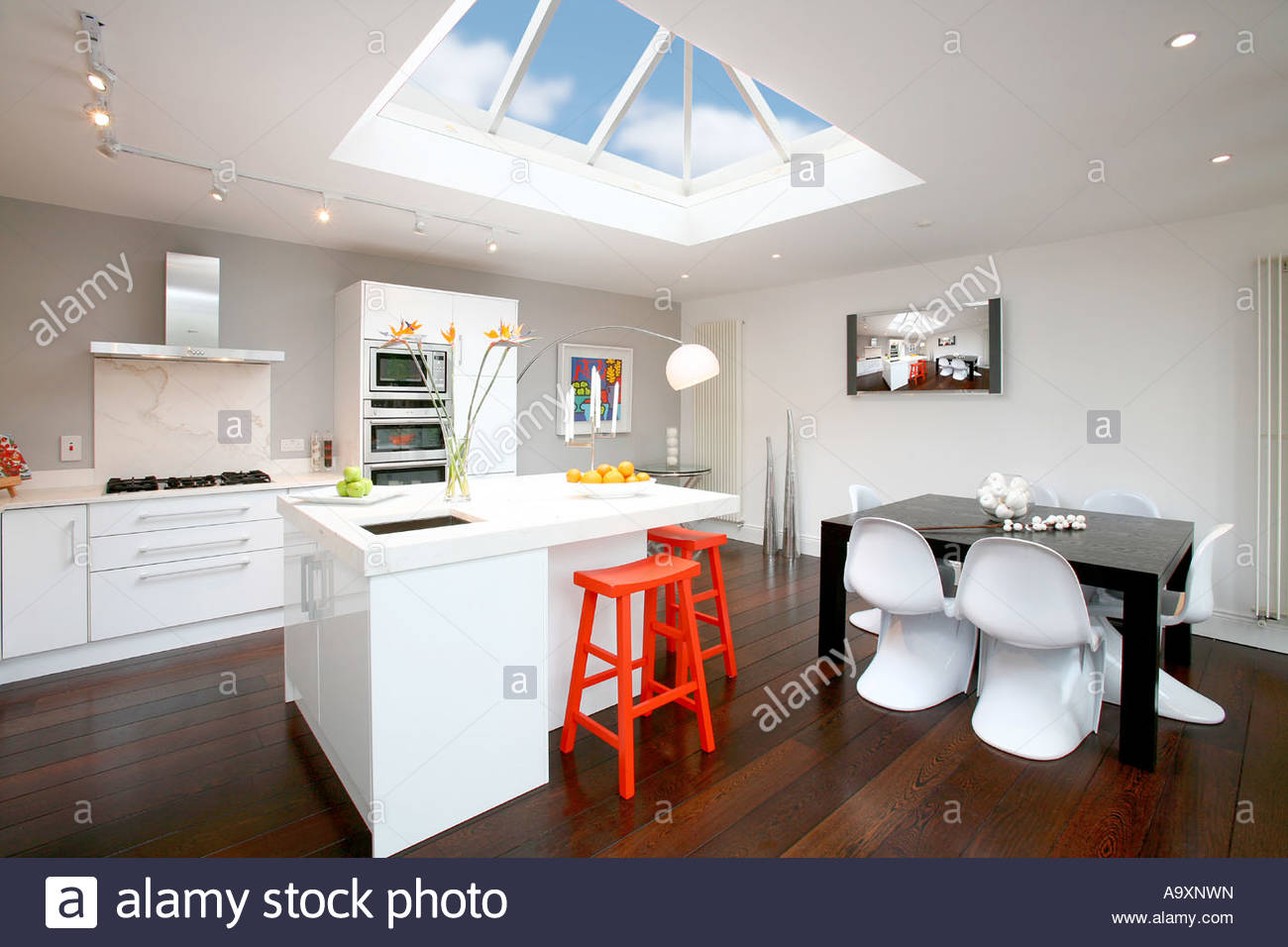 Modern kitchen with atrium skylight window stock photo for Where to buy atrium windows