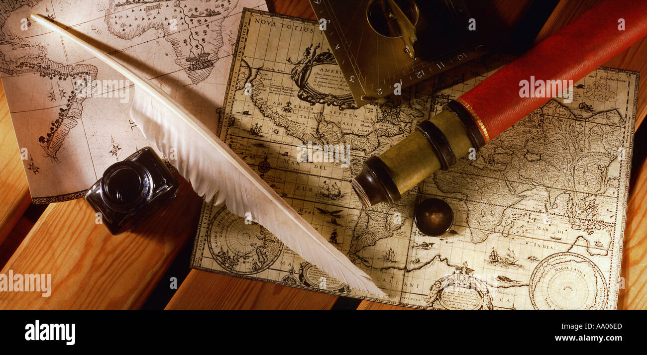Old world map stock photos old world map stock images alamy navigation tools sitting on a old world map stock image gumiabroncs Image collections