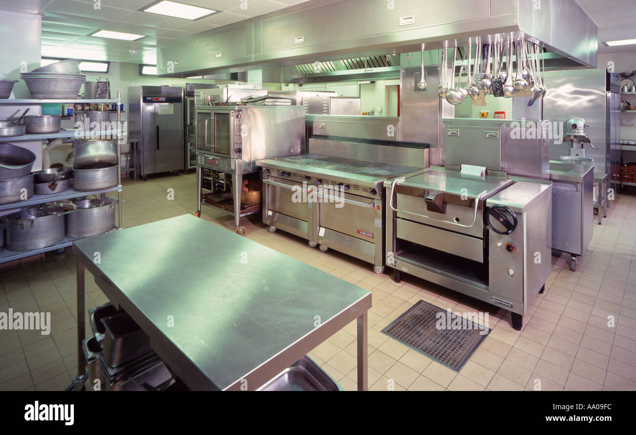 commercial industrial professional kitchen stock photo