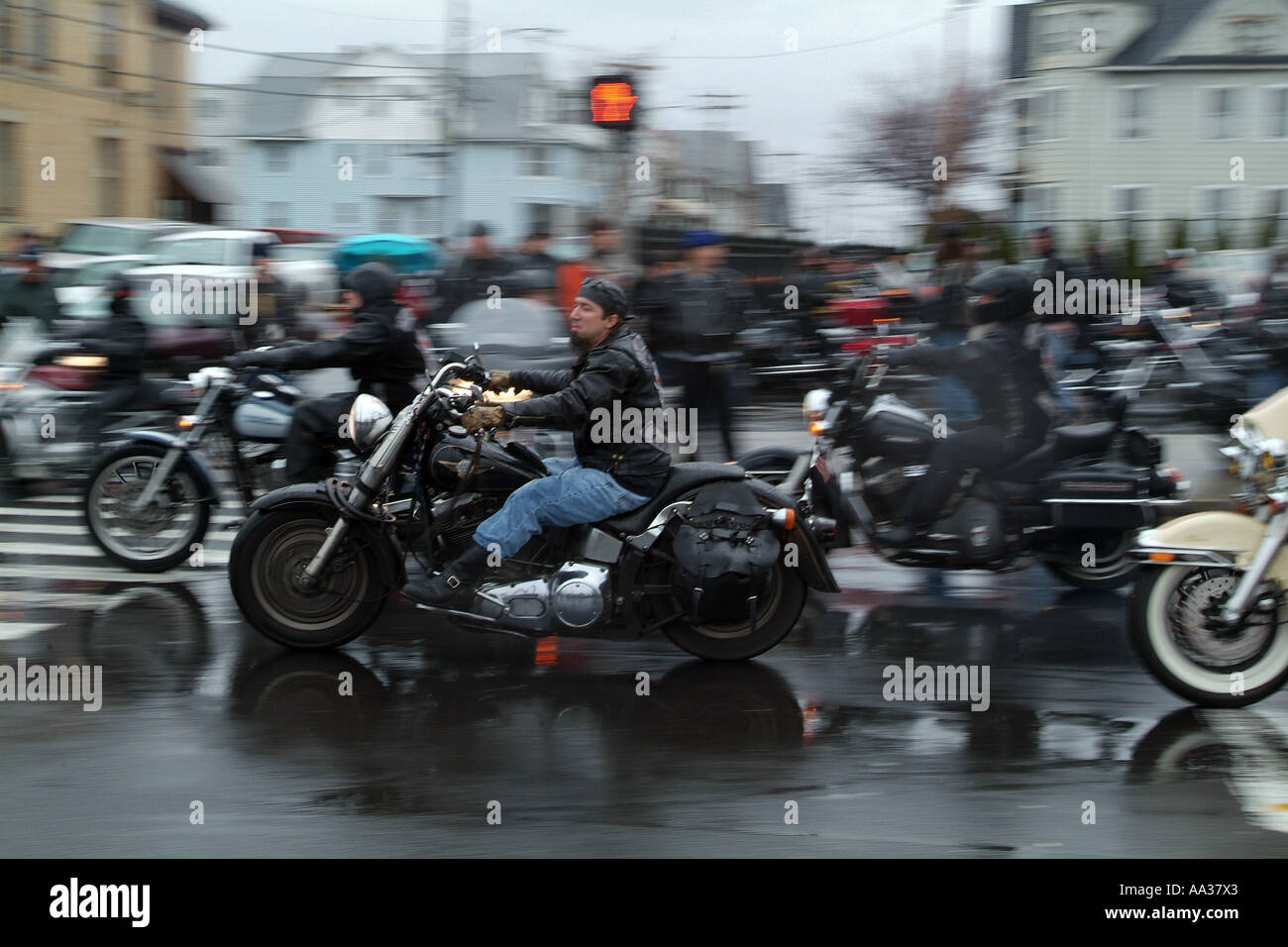 Hells Angels Funeral Motorcycle Club Members At Funeral For Member Stock Photo Royalty Free