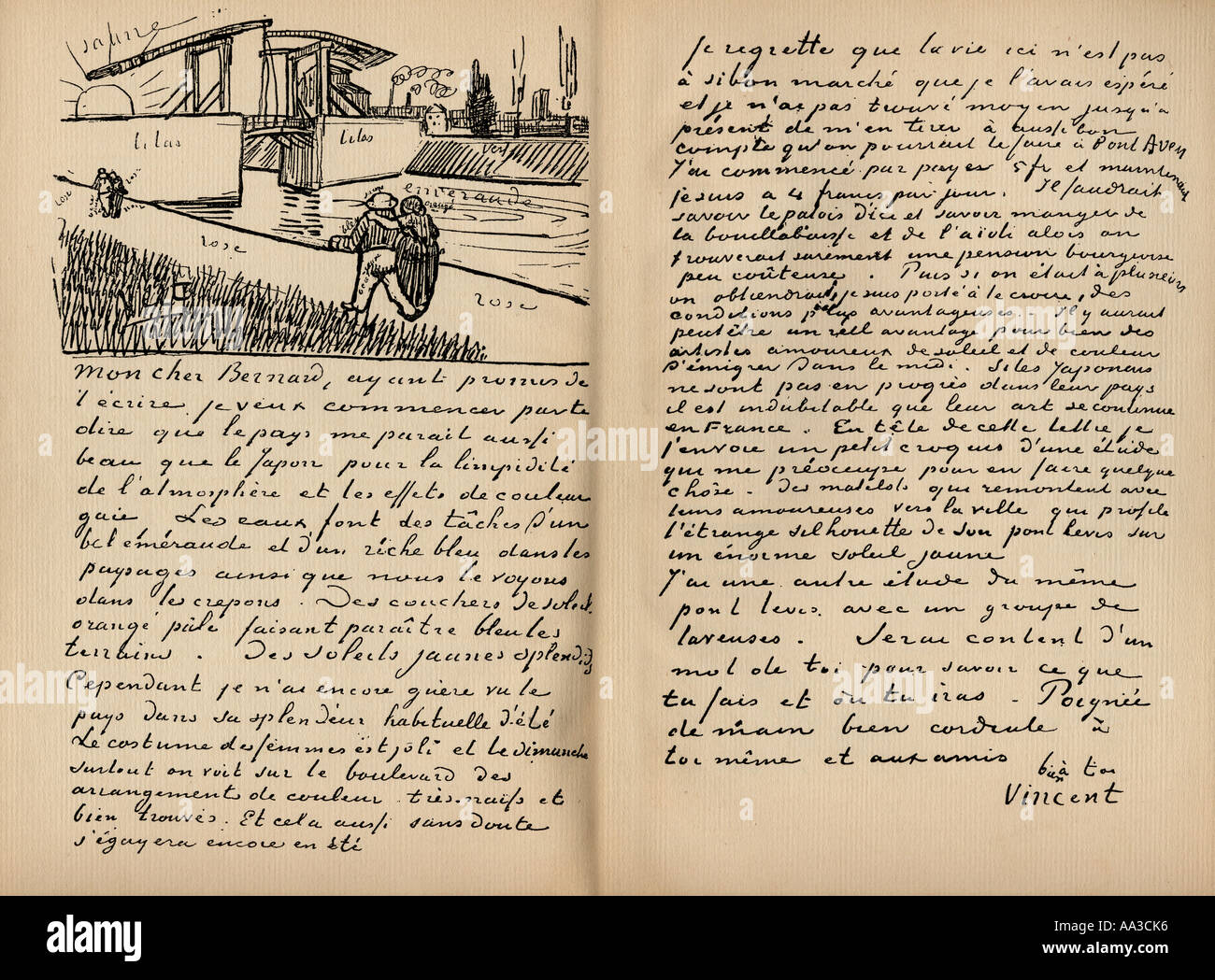 facsimile of letter from vincent van gogh to emile bernard