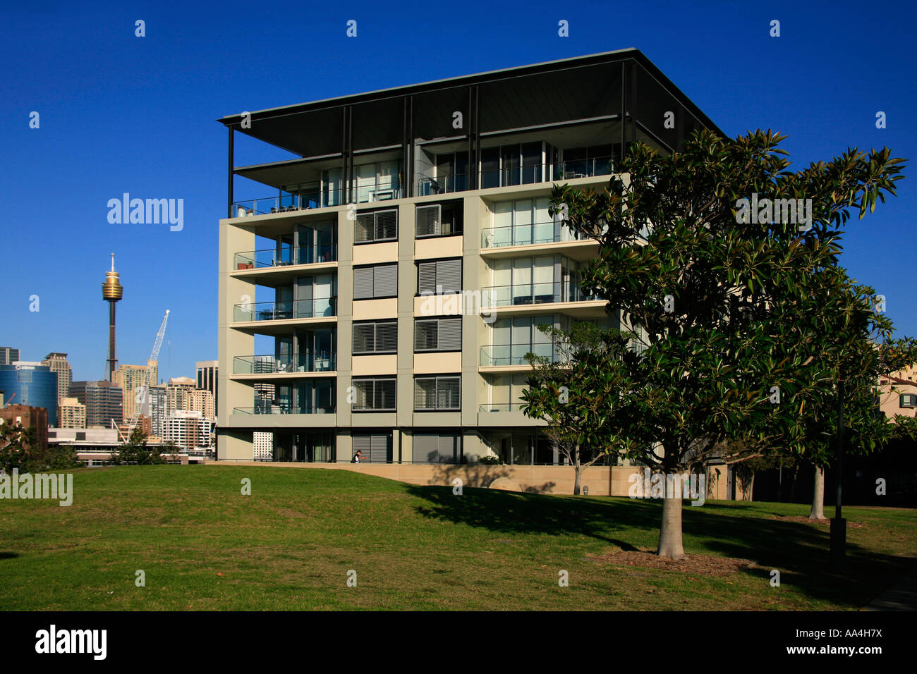 A contemporary architect designed luxury apartment block on the Pyrmont  peninsula close to Sydney city Australia