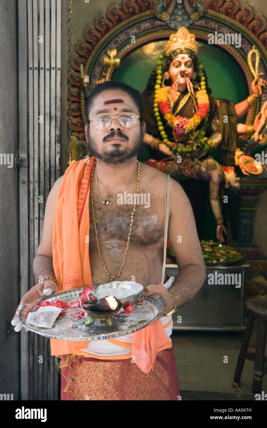 Singapore. Asia. Hindu priest at Sri Vadapathirakaliamman ...