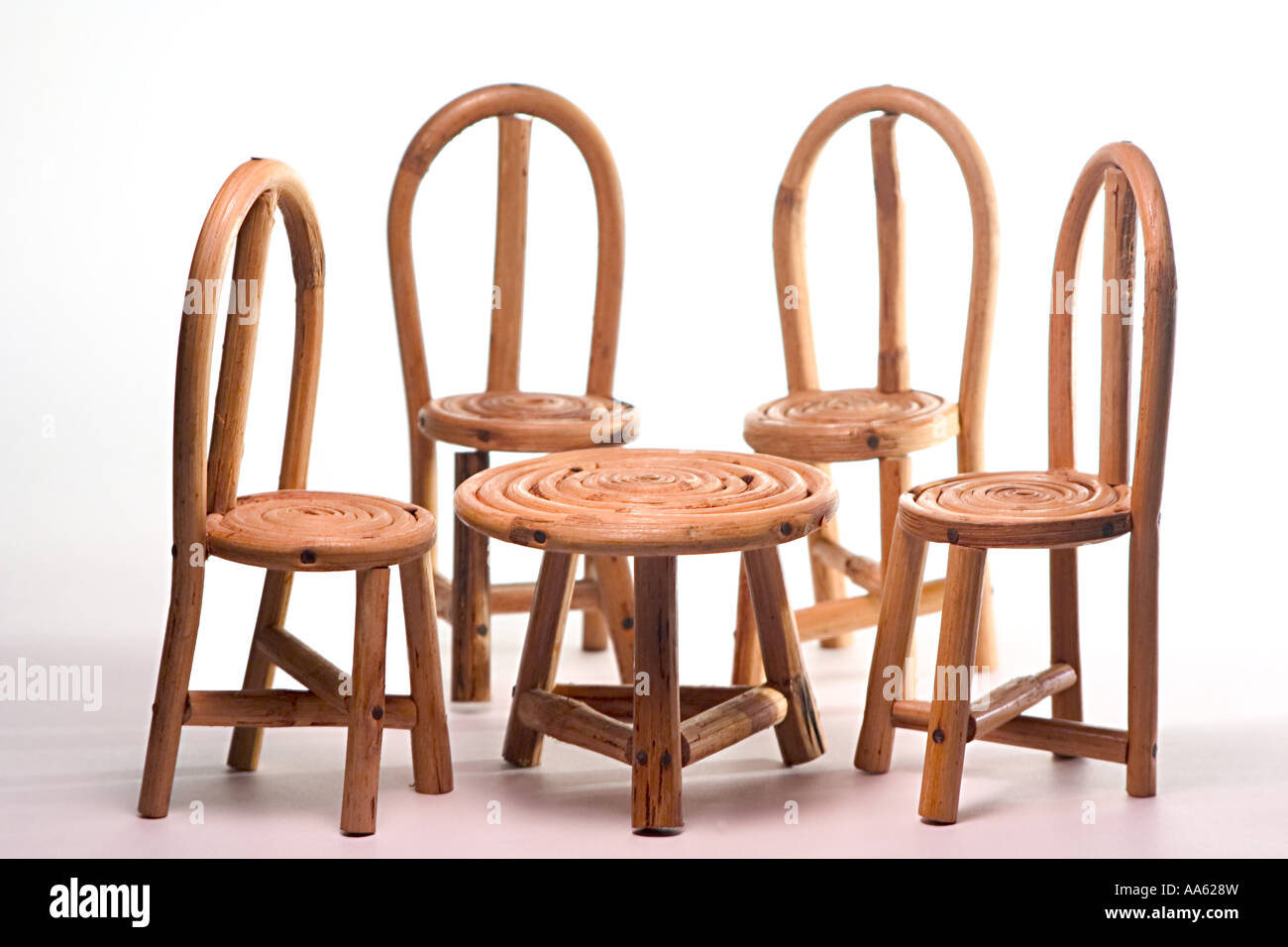 Concept Family Handicraft Four Cane Chairs And One Table Small Toy Children  Plaything Miniature