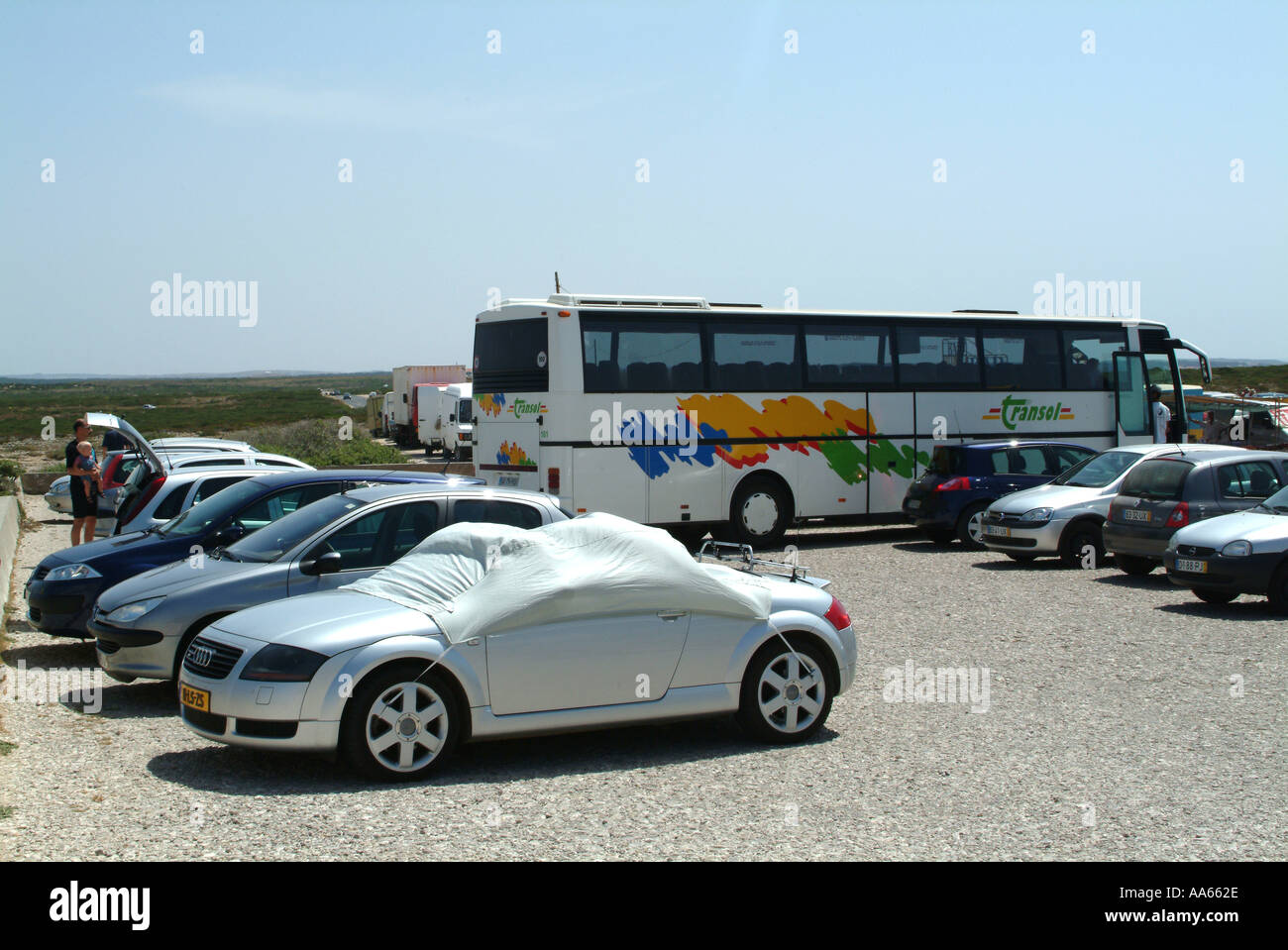 Cars And Bus Parked At Cape St Vincent Lighthouse Algarve Portugal